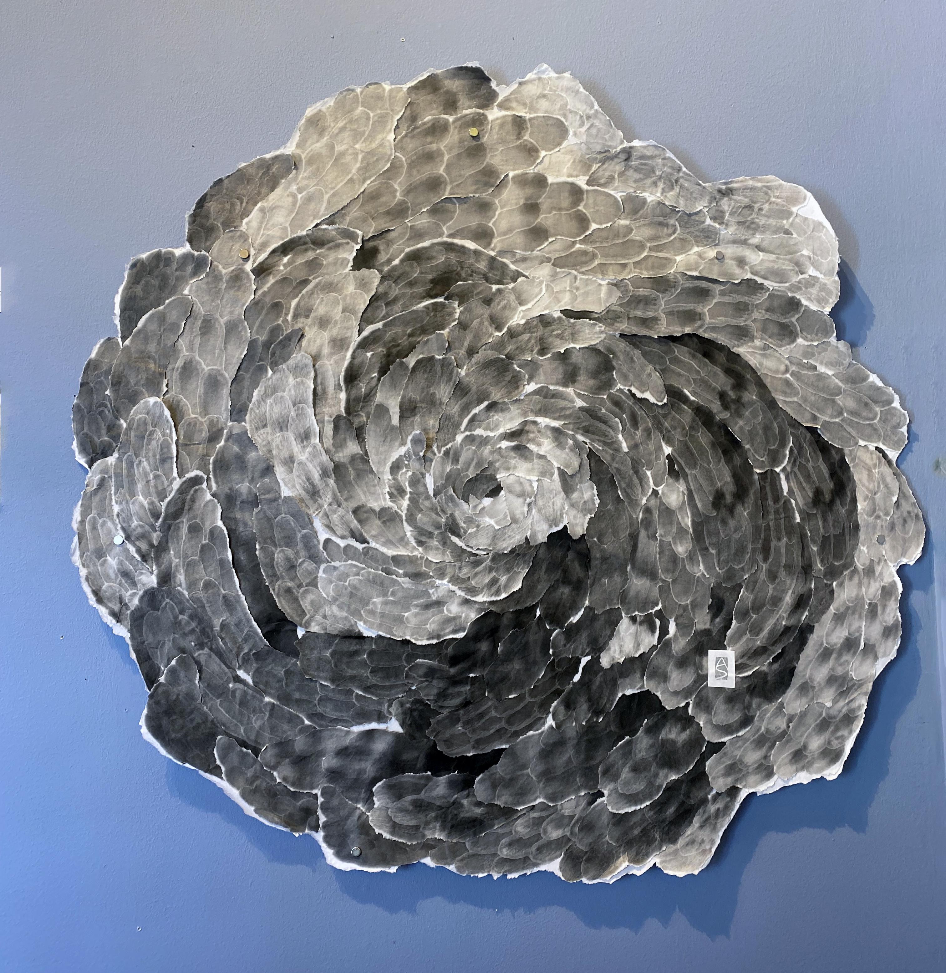 MANDALA SWIRL, sumi ink on rice paper collage, 42 inch diameter