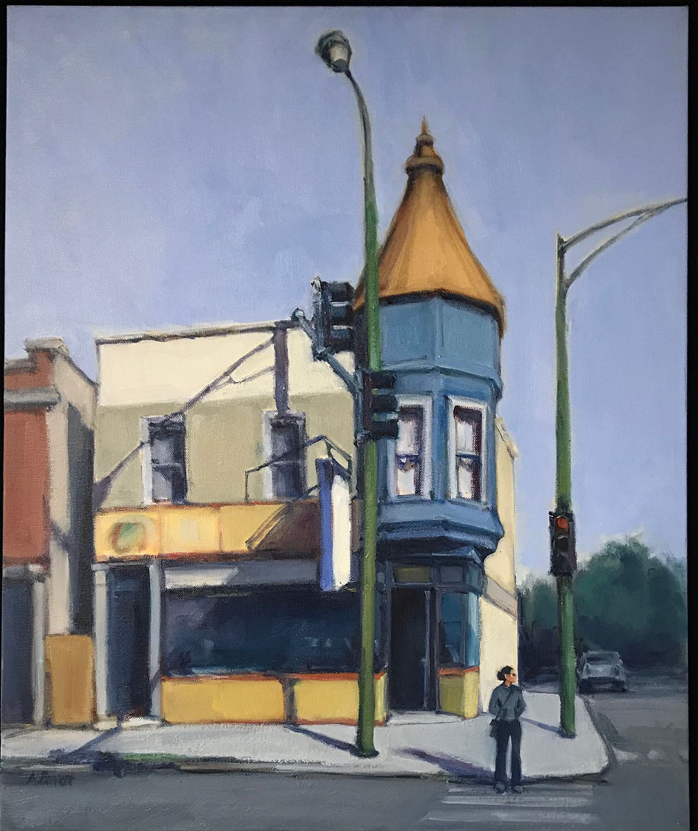 Logan Square and Ashland Ave., oil on canvas, 24x20 IN