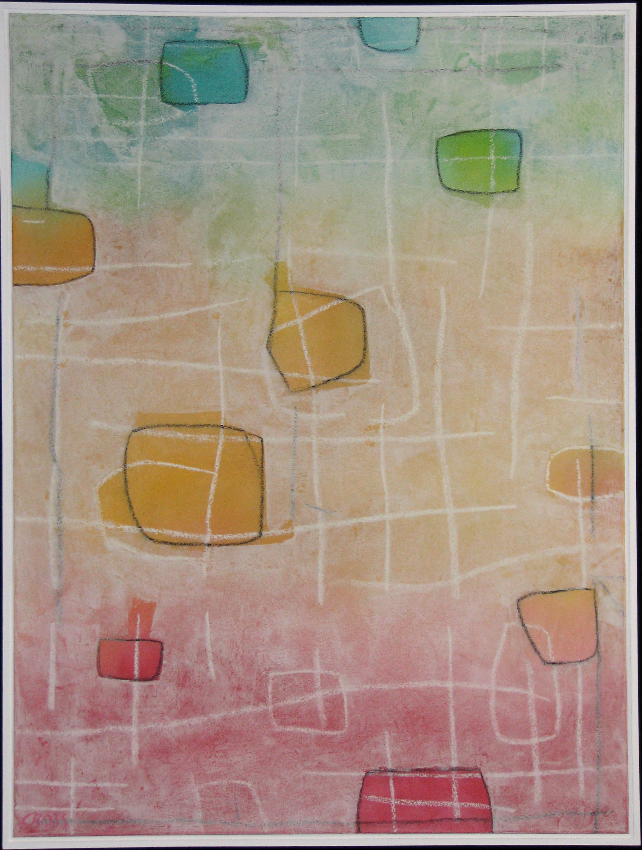 PAPER LANTERN IX, acrylic and mixed media on canvas, 40 x 30 in