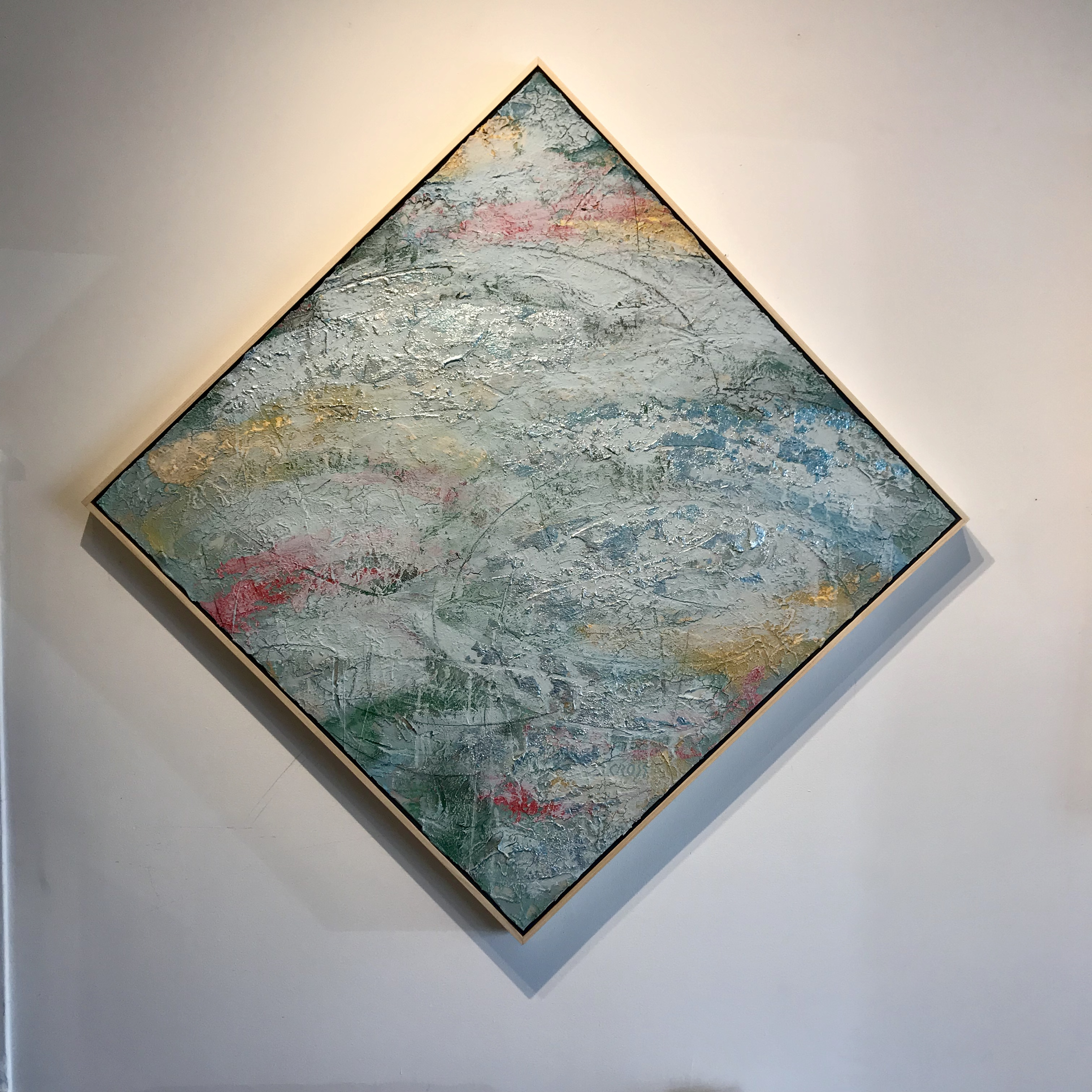 DUTCHE MODERN, acrylic, pastel, and silver leaf on canvas, 36 x 36 IN, 51 x 51 IN on axis