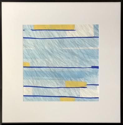 FLAG IX, gouache & pencil on paper, 12 x 12 in