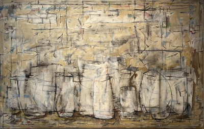 BISQUE FIRE, acrylic and charcoal on canvas, 34.25 x 54.25 in.