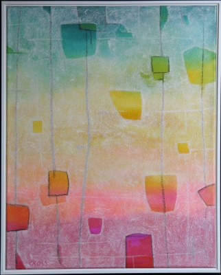PAPER LANTERN VIII, acrylic and mixed media on canvas, 30 x 24 in