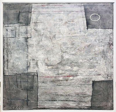 HOW SOON IS NOW, 12 kt gold, acrylic, charcoal on canvas, 32 x 32 in