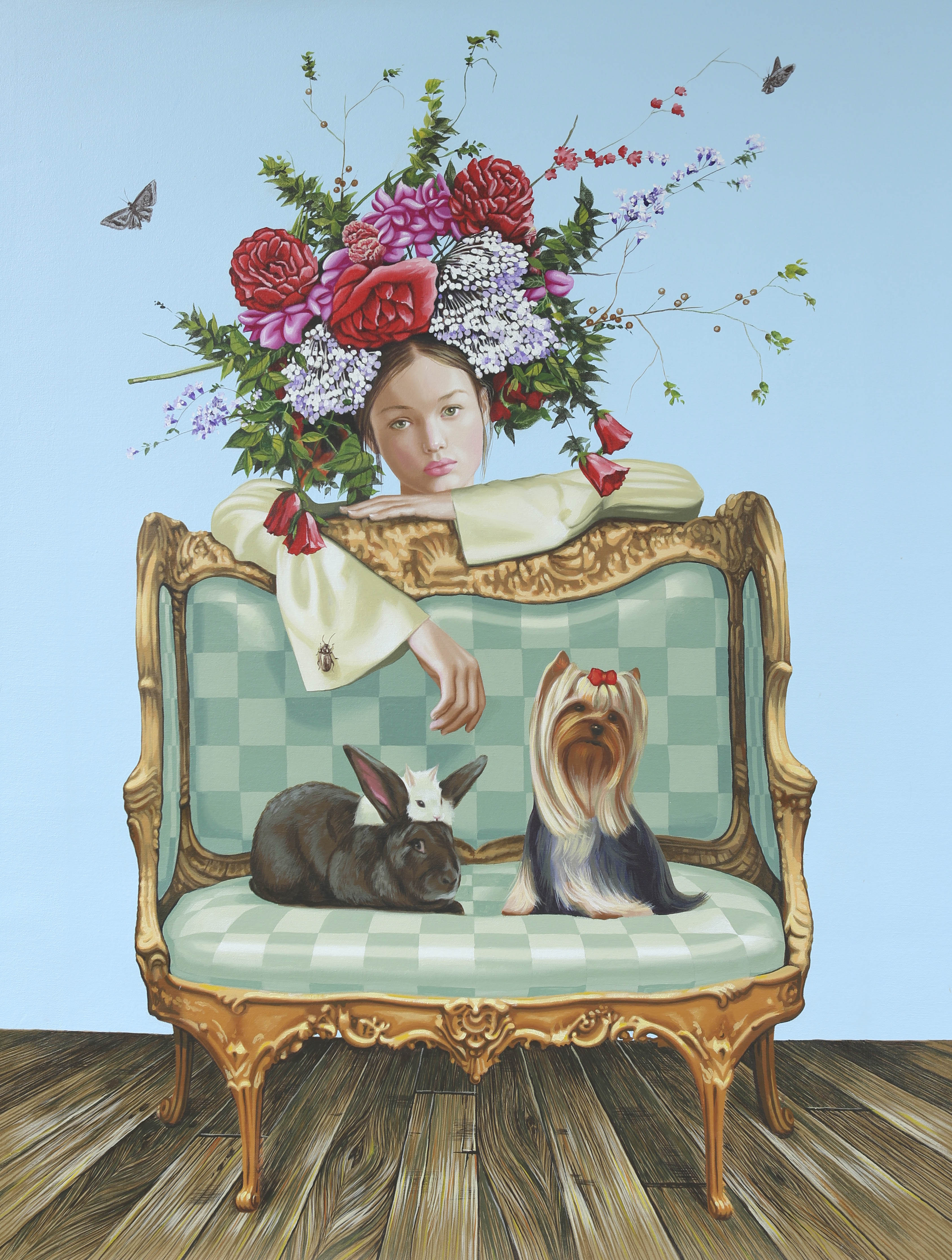 KEEP PETS OFF FURNITURE, acrylic on canvas, 26 X 35 inches