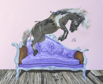 KEEPING PETS OFF THE FURNITURE V, acrylic on canvas, 34 x 40 inches