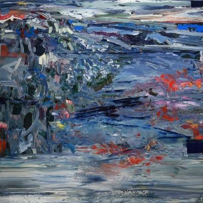 DARK WOOD, oil on canvas, 55 x 55 x 2.5 in