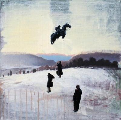 WINTERSTATE HIGH GROUND, oil on canvas, 20x20 IN