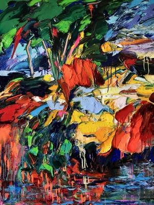 """""""Le Chant des Pavots"""", oil on canvas, 46 x 35 in, (116x89 cm)"""