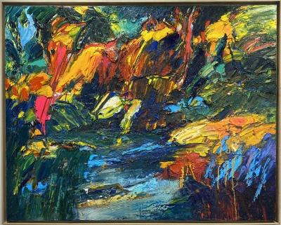 """""""Le Sous Bois De Jade"""", oil on canvas, 51 x 64 inches"""