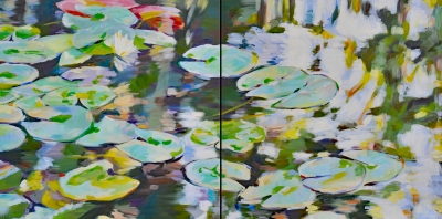 WATER LILY diptych, 60 x 30 IN