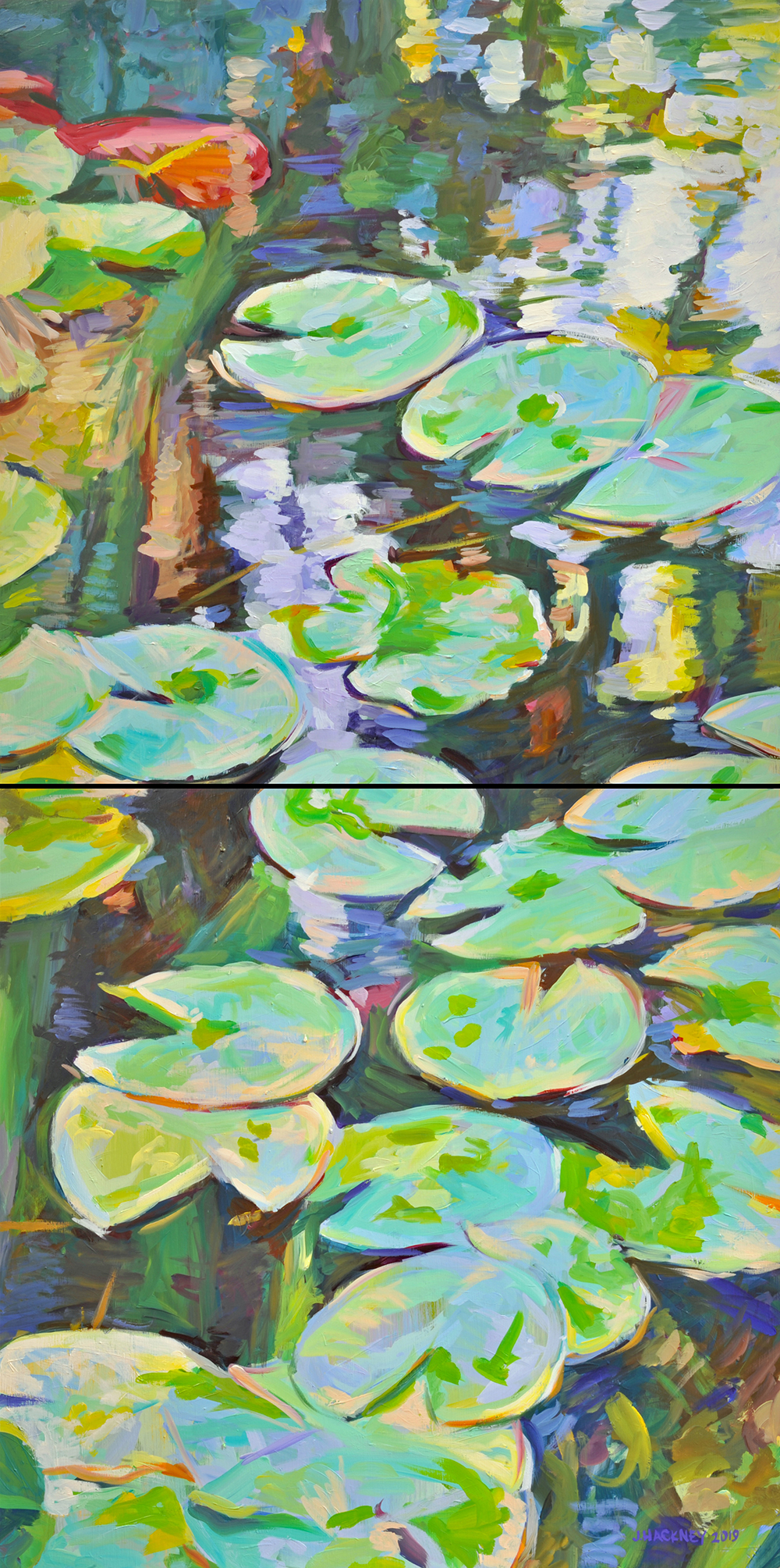 WATER LILY diptych, 30 x 60 IN