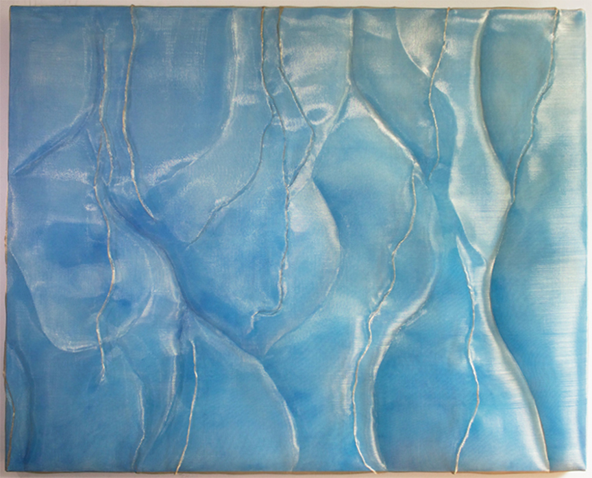 CRYSTAL BLUE, 48 x 60 in., finely woven mesh, acrylic on canvas