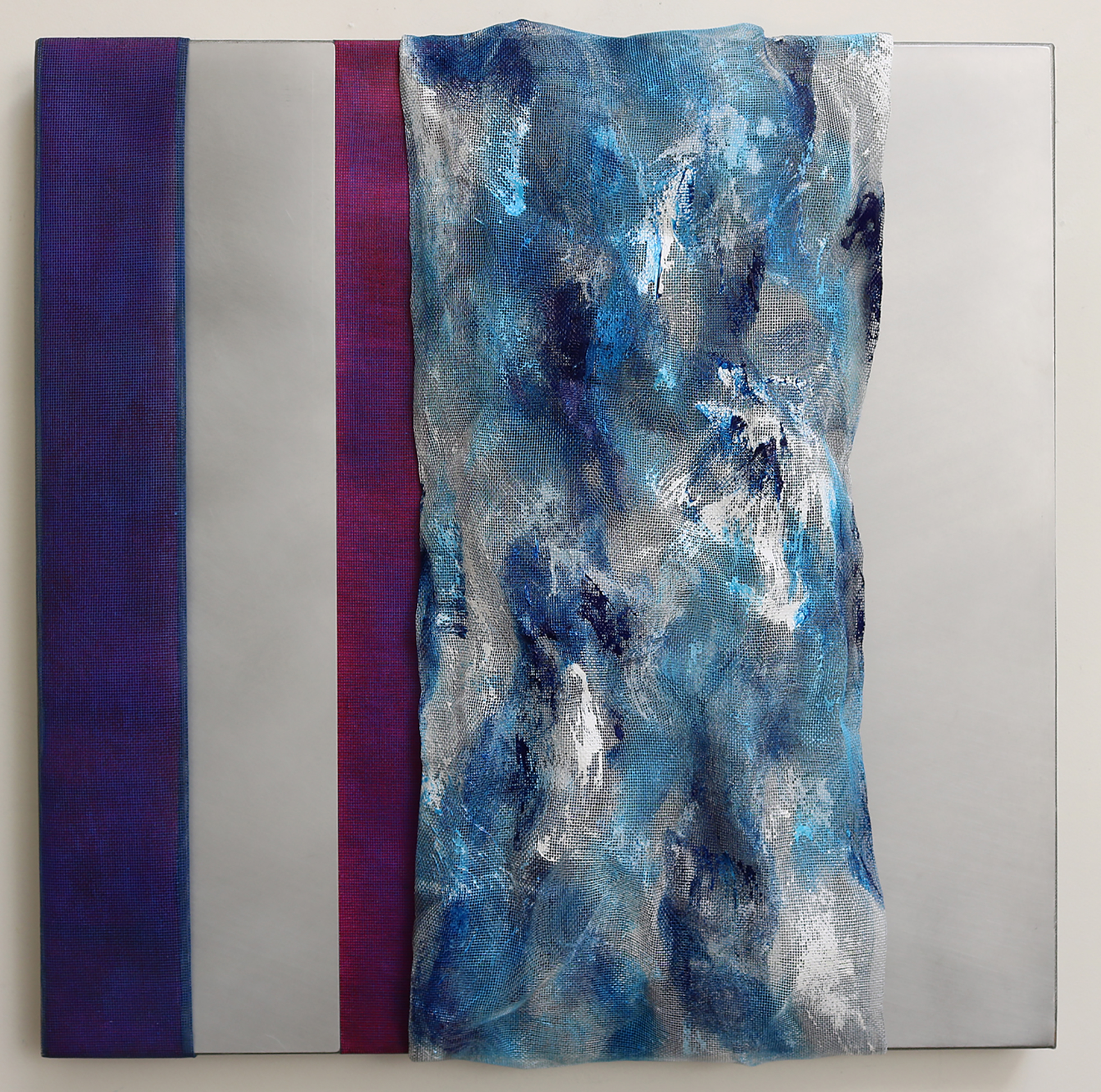 PERKIN'S DELIGHT, 24 x 24 in., finely woven mesh, acrylic on canvas