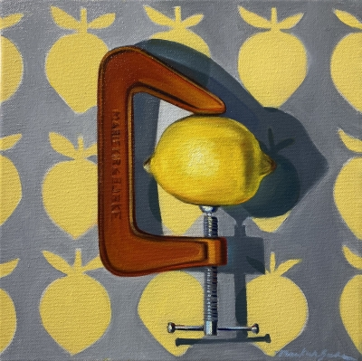 LEMON SQUEEZE, oil on canvas, 12 x 12 inches