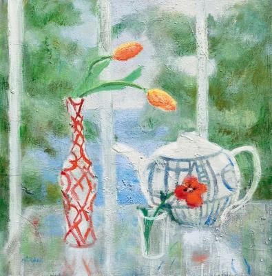 POPPY TEA POT, oil on canvas, 20 x 20 inches