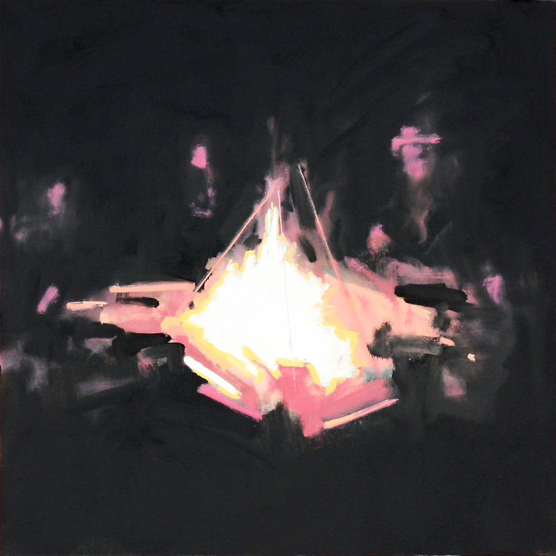 BIG CAMPFIRE, oil on canvas, 24 x 24 inches