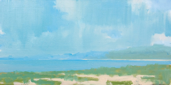 VIEW FROM THE DOCK, oil on canvas, 15 x 30 inches