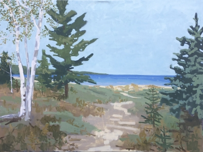 BIRCHES ON THE BEACH, oil on canvas, 36 x 48 inches