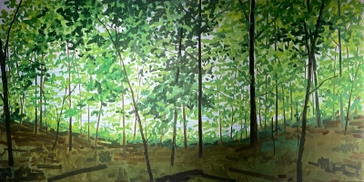 ARTISTS WOODS, oil on canvas, 24 x 48 inches