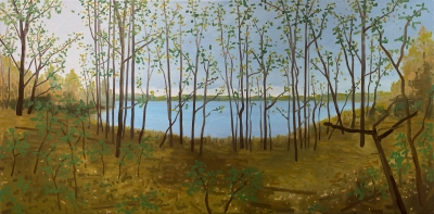 SCHOOL LAKE, oil on canvas, 24 x 48 inches
