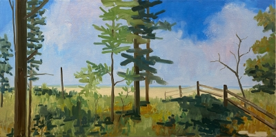 OLD FENCE LINE, oil on canvas, 24 x 48 inches
