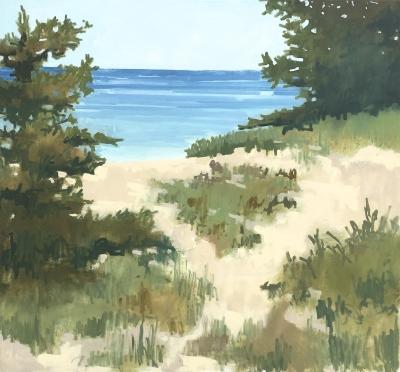 LAKE MICHIGAN, oil on canvas, 48 x 52 inches