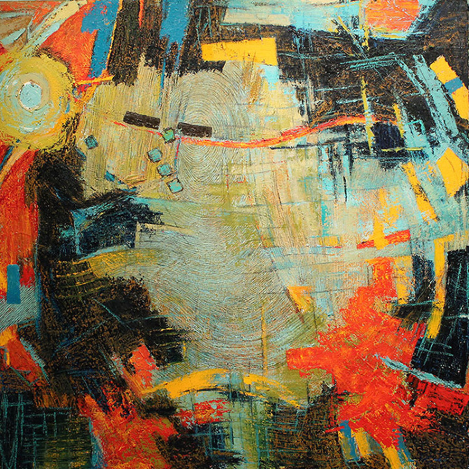 SWISH IT JUST A LITTLE, oil on canvas, 48 x 48 in