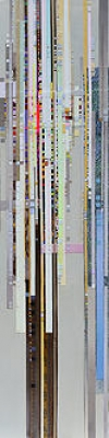 SPAN 2, canvas and fabric collage on canvas, 48 x 12 IN