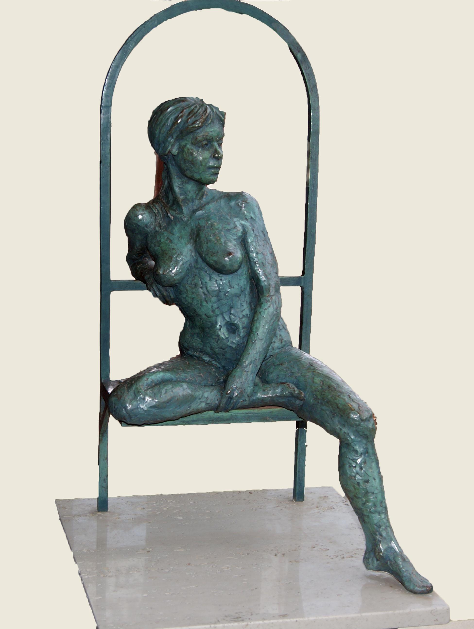 patina bronze, 24h x 14w x 14d