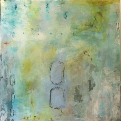 FALLING GENTLY II, silk and acrylic on canvas, 30 x 30 IN