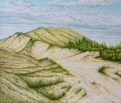 SLEEPING BEAR DUNES, oil on canvas, 22x26 in
